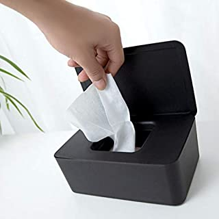 Flurries Facial Tissue Box Case with Lid - Wet Wipes Dispenser - Pull from Rectangular Paper Towel Container Holder - Dustproof Storage Organizer for Car Office Home Bathroom Kitchen Toilet
