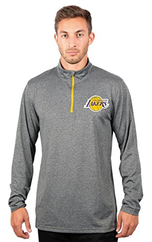 Nba Mens Los Angeles Lakers Quarter Zip Pullover Shirt Long Sleeve Tee  Large  Gray