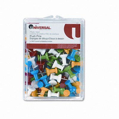 Universal Colored Push Pins, Plastic, 3/8