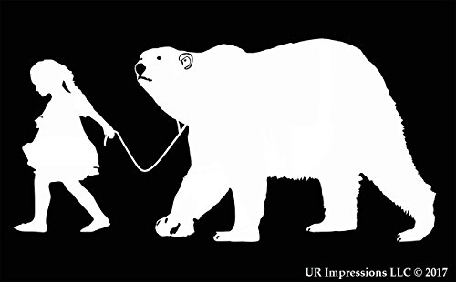 UR Impressions Girl Walking Polar Bear Decal Vinyl Sticker Graphics for Cars Trucks SUV Vans Walls Windows Laptop|White|7.5 X 3.9 Inch|URI452 ()