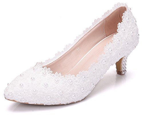 Melesh White Princess Lace Sweet Wedding Bridal Women Kitten Heels 5cm (10.5US - - Brides Shops Bridal Princess