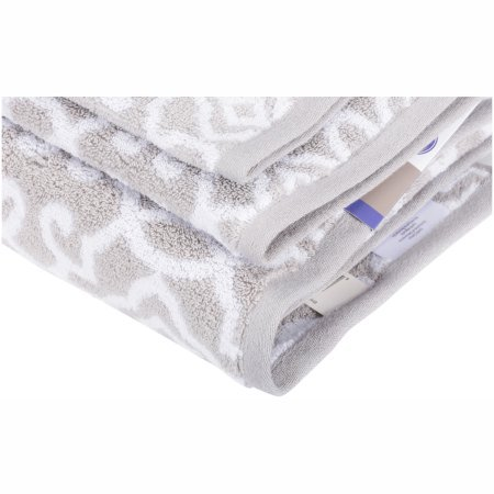 Better Homes and Gardens Thick and Plush Jacquard Bath Collection 6 Piece Towel Set, Silver/White from Better Homes & Gardens