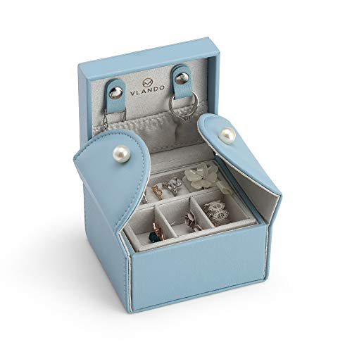 Jewelry Ladies Case (Vlando Small Travel Jewelry Box Organizer - Microfiber PU Leather Box - Stud Closing & 2-Layer Storage Case for Earrings Rings Necklaces - Best Gifts for Girls Women Ladies - Air Blue)