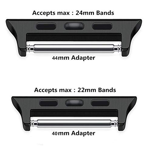 Stainless Steel Adapter Bracelet Strap Connector Compatible Apple Watch/iWatch Series 4 40mm 44mm (Black, 44mm) by OVERMAL (Image #3)
