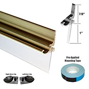 "Gold Framed Shower Door Replacement Drip Rail with Vinyl Sweep - 35"" Long"