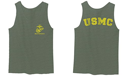 Marines Marine Corps USMC Logo Seal United States America USA American Men's Fitted Tank Top (Olive, Medium)