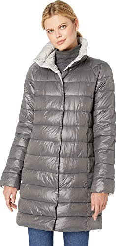 Kenneth Cole New York Women's Thigh Length snap Puffer with Contrast Lining, Gunmetal/Silver, S