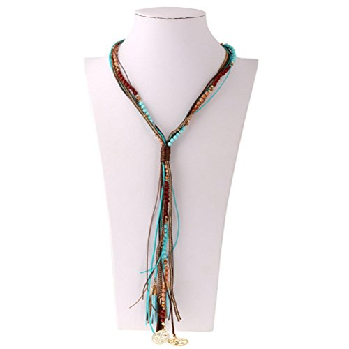 Necklace, Hatop Crystal Seed Bead long Tassel Bohemia Necklace Pendant charm Fashion Jewelry (Blue) (Bestfriend Costumes)