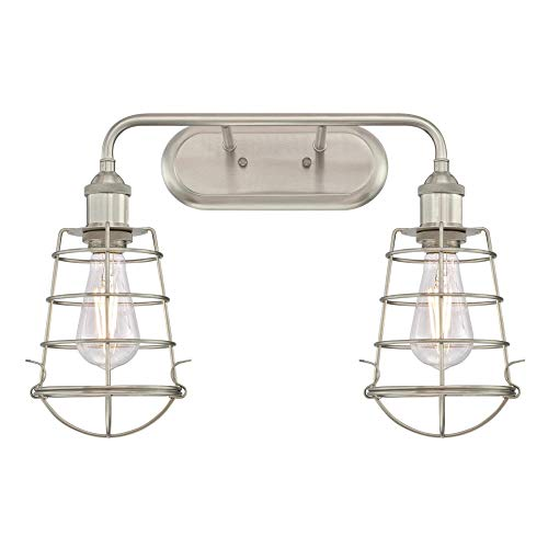 Westinghouse Lighting 6336400 Oliver Two-Light Indoor Wall Fixture, Brushed Nickel Finish with Cage Shades, 2