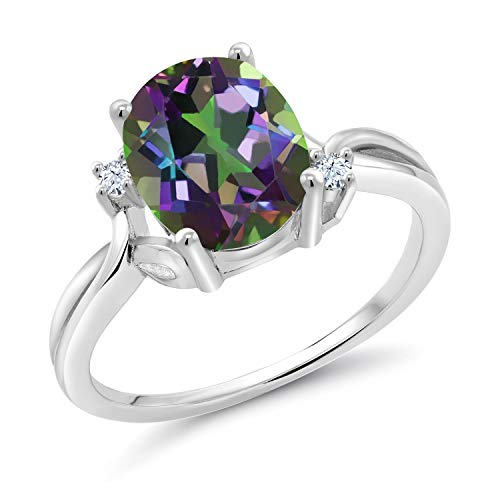 (Gem Stone King 2.73 Ct Oval Green Mystic Quartz White Created Sapphire 925 Sterling Silver Ring (Size 7))