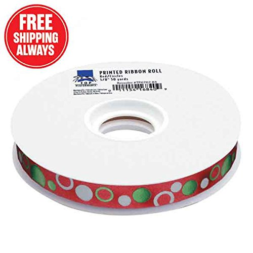 (Top Performance Circles Printed Dog Grooming Ribbon, 50 yd, Red )