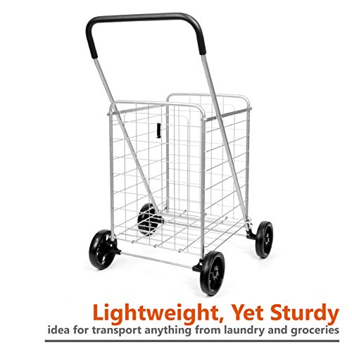419005871276 SUPENICE SN7511 Durable Folding Grocery Utility Shopping Cart with  Oversized Wheels Laundry Basket, Save Space Light Weight, Tool Free  Installation ...