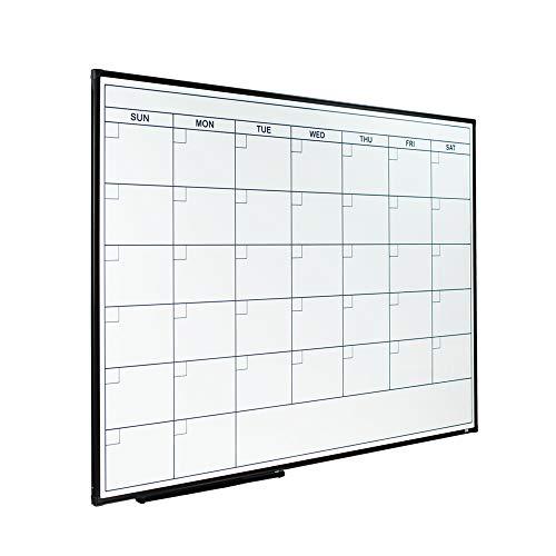 Lockways Dry Erase Calendar Whiteboard - Framed Magnetic Whiteboard/White Board Calendar 36 x 24 Inch, Monthly Planning Board Ultra-Slim Black Aluminium Frame for School Home Office ()