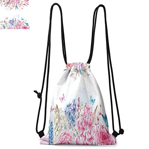 Shabby Chic Printed drawstring backpack Romantic Garden Roses Flowers Daisies Leaves Print Suitable for school or travel W13.4 x L8.3 Inch Pale Pink Purple Pale Blue and Coral ()