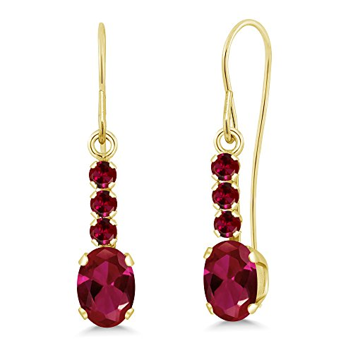 1.30 Ct Oval Red Created Ruby 10K Yellow Gold ()