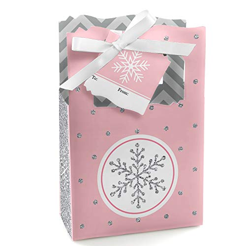 Pink Winter Wonderland - Holiday Snowflake Birthday Party Bag - Set of 12 -