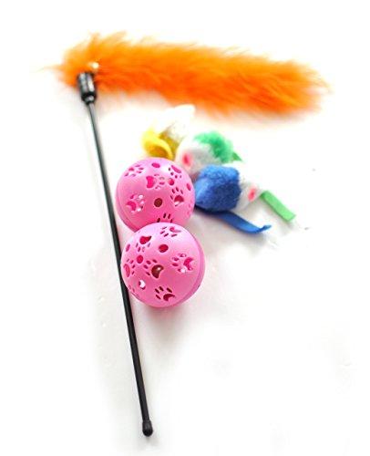 Fur Teaser Cat Toy (Cat Toys Ball, Cat Teaser Wand Interactive Cat Toys Cat Teaser Wand Cat balls mice bells caterpillars (Cat Toys Variety Mini Pack, 6 Units))