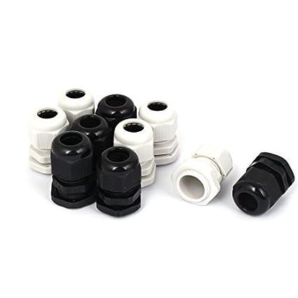 eDealMax plástico impermeable PG13,5 Cable Gland Sujetador Negro Blanco 10pcs