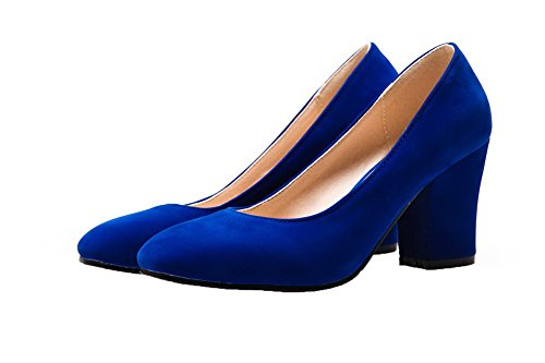 Toe on Solid WeenFashion Shoes Pumps Women's Closed PU Square Blue Heels High Pull 00pxHtqw