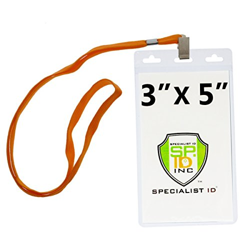 10 Pack - Large 3x5 Inch Large Clear Vertical Badge and Credential Holders with Lanyards for VIP Badges by Specialist ID (Orange)