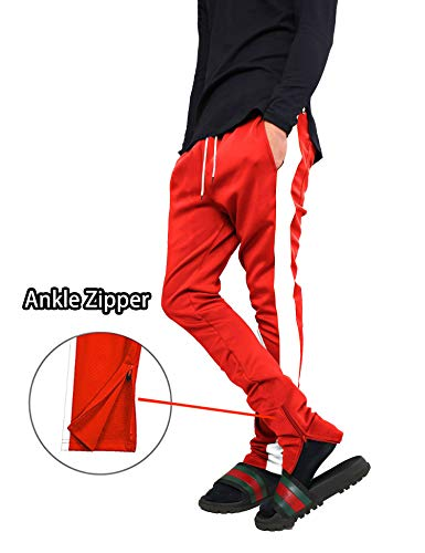 COOFANDY Men's Hip Hop Jogger Pants Slim Fit Elastic Drawstring Stripe Ankle Zipper Jogging Sweatpants Track Pants by COOFANDY