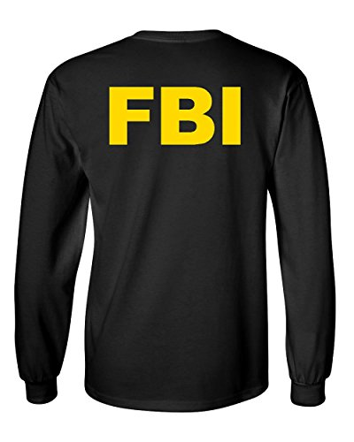 FBI Long Sleeve Tee Federal Bureau of Investigation Agent Funny Black - Men Black M In Agent