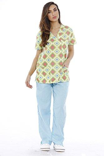 (Just Love 1311V-29-S Nursing Scrubs Set for Women Print Scrubs)