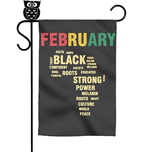 bbileo2 February 2019 Black History Month Afro Colors Rubber Vertical Double Sided Evergreen Garden Flag