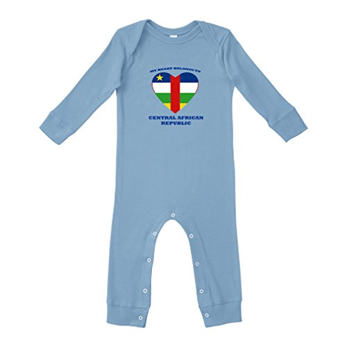 fan products of Cute Rascals Love Soccer Central African Republic #1 Cotton Long Sleeve Envelope Neck Unisex Baby Legged Long Rib Coverall Bodysuit - Light Blue, Newborn