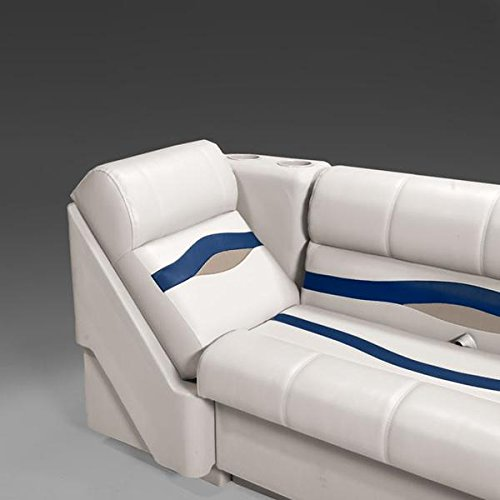 DeckMate Premium Right Pontoon Lean Back Seat (Ivory/Blue/Tan)