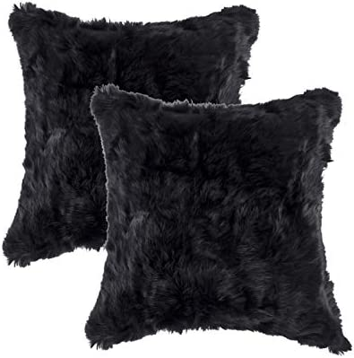 Set of 2, Natural Handcrafted Rabbit Fur Pillow with Polyfil Insert and Zipper Closure, Black, 18 in x 18 in