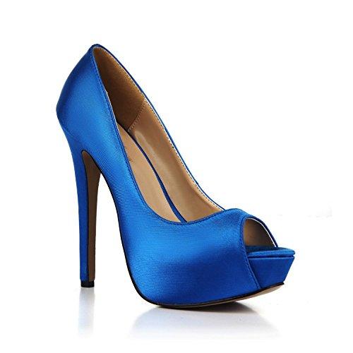 altos Blue verano Wedding básicas Best Faux Sandalias 4U® Platform Cómodas Shoes Sole Tacones EU36 bombas para de mujer Silk 3CM 14CM Peep toe Rubber RRZBxn