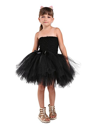 Tutu Dreams Kitty Costume Kids Girls Halloween Black Cat Cosplay (8, Cat)