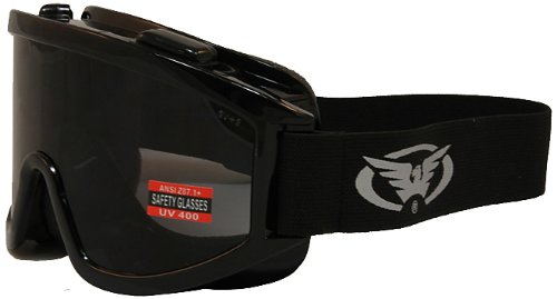 Global Vision Windshield Motorcycle Goggles (Black Frame/Smoke Lens) (Motorcycle Windshield Polycarbonate)