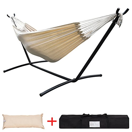 Lazy Daze Hammocks Double Hammock with Built-in Pocket and Space Saving Steel Stand Includes Portable Carrying Case and Head Pillow, 450 Pounds Capacity (Natural Hammock)