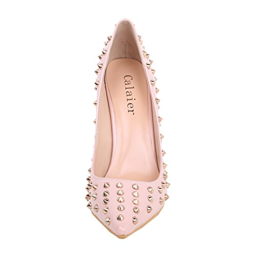Calaier Women Canight 2016 Sexy Modern Fashion Pointed Toe 12CM Stiletto Slip on Court Shoes Pink Wwzmfy