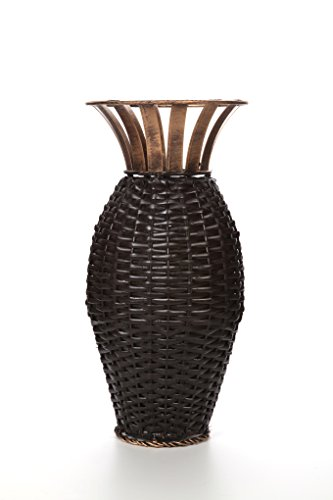 Hosley 15 Inch High Iron Weave Floor Vase Brown and Gold Ideal Gift for Weddings Party Home Spa Reiki Aromatherapy Settings Votive Candle Gardens O3 - PRODUCT: Hosley's Iron Weave Vase USES: These are just the right gift for a wedding and can be used for a party, reiki, spa. The vase can complement a variety of decors that other vases are limited in. BENEFITS: They can accent your home or office for the right decor with or without dry floral or greenery additions. - vases, kitchen-dining-room-decor, kitchen-dining-room - 41Vo7a9GufL -