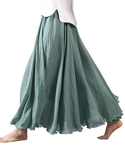 Lin Coton Elastique de Tour Maxi Bean Jupe Elastique Lache Longue Taille Femme Vert En Uwfxg