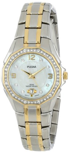 (Pulsar Women's PXT798 Crystal Mother of Pearl Dial Watch )