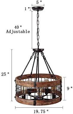CLFINE Round Wooden Chandelier Metal Pendant 5-Lights Decorative Lighting Fixture Retro Rustic Antique Ceiling Lamp
