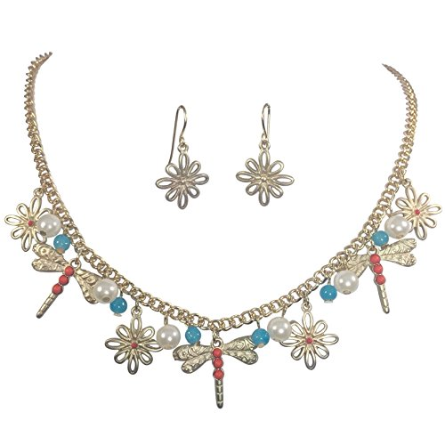 (Gypsy Jewels Dainty Dragonfly Charm Imitation Pearl Dangle Gold Tone Statement Necklace Earring Set (Coral Orange & Blue))