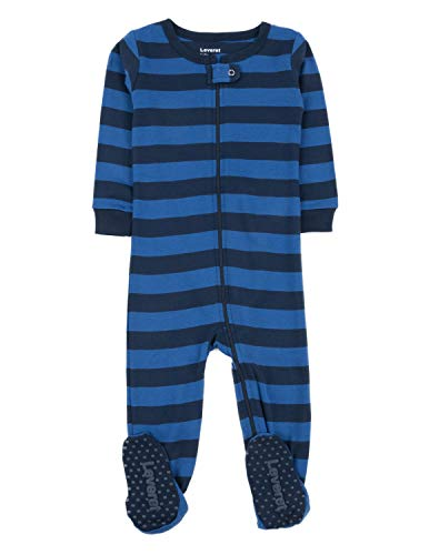 Leveret Striped Baby Boys Footed Pajamas Sleeper 100% Cotton (3 Toddler, Blue & Navy) ()