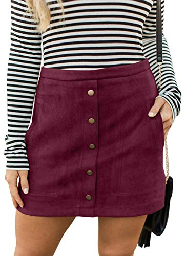 Meyeeka Plain Solid Mini Skirt for Women,Vintage Button Front A-line Skirt with Pocket M ()