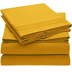 Ideal Linens Bed Sheet Set - 1800 Double Brushed Microfiber Bedding - 4 Piece (Full, Canary Yellow)