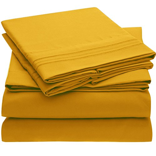 Ideal Linens Bed Sheet Set - 1800 Double Brushed Microfiber Bedding - 4 Piece (King, Canary Yellow)