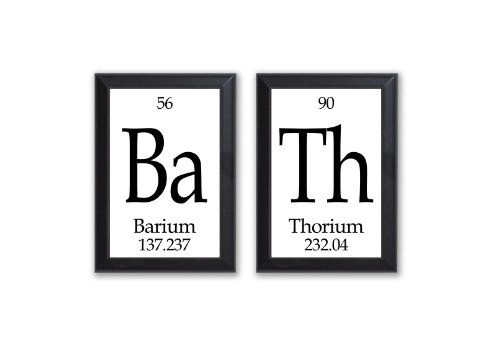 Neurons Not Included Bath Periodic Table of Elements Plaque - 2 Piece Set - Each 5' X 7
