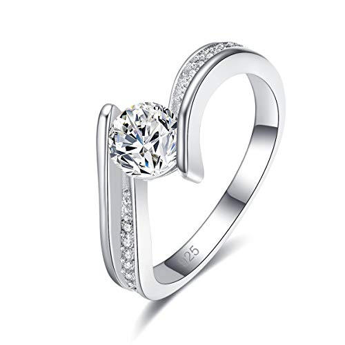 Psiroy 925 Sterling Silver Cubic Zirconia Filled Bypass Band Wedding Ring for Women Size 6 ()
