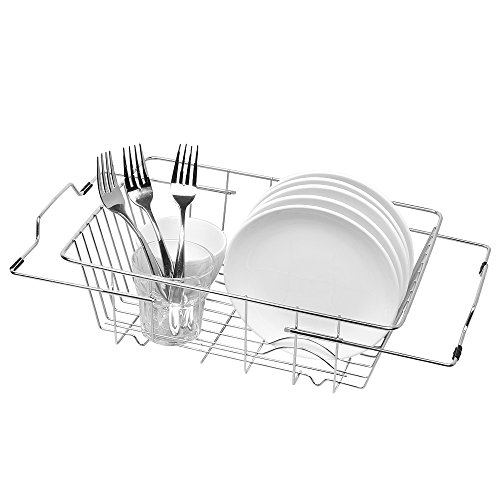 NEX Over Sink Dish Drying Rack, Functional Kitchen Strainer for Drying Vegetables and Fruit Adjustable Stainless Steel Dish Rack by NEX