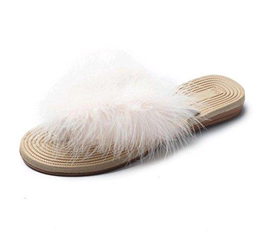Mujer Marolaya de Zapatillas cremoso Blanco Peluche para wTrr6q8Ign