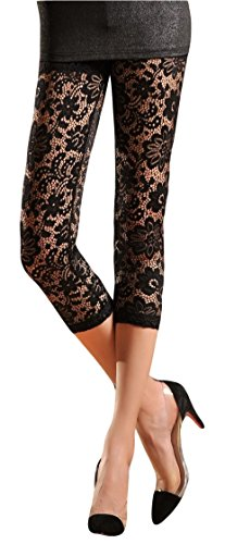 Womens Stretchy Floral Lace Capri Tights/Leggings